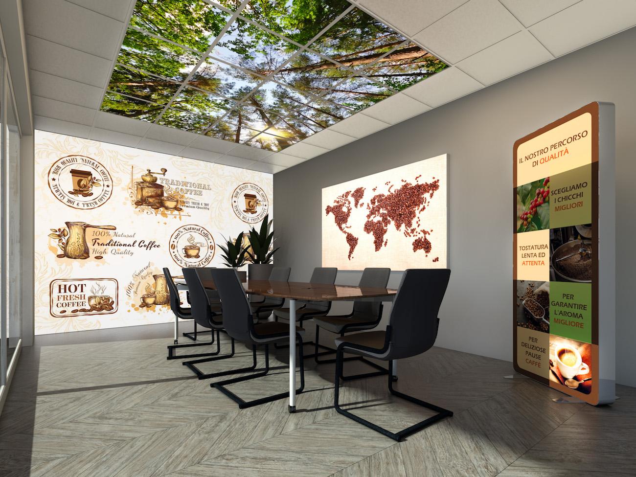 Esempio di sala riunioni allestita con diverse soluzioni Lumio